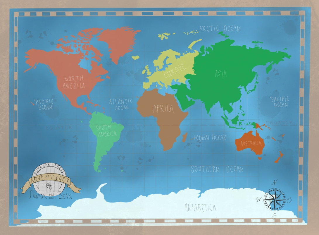 world map illustration, childrens map illustration, childrens illustration, map illustration